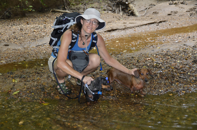 2013-07-20<br /> Me and grand-puppies cooling off in the creek.