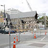 A look toward the Christchurch Cathedral which sustained a lot of damage in the earthquake.