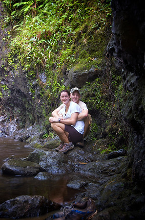 John and Jenni Base of Ka'au Waterfall No. 1