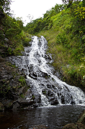 "The third of the Ka'au falls is the largest, flowing down a series of ""steps."" The trail winds it's way up along the falls and even out across the falls, in order to reach the summit."