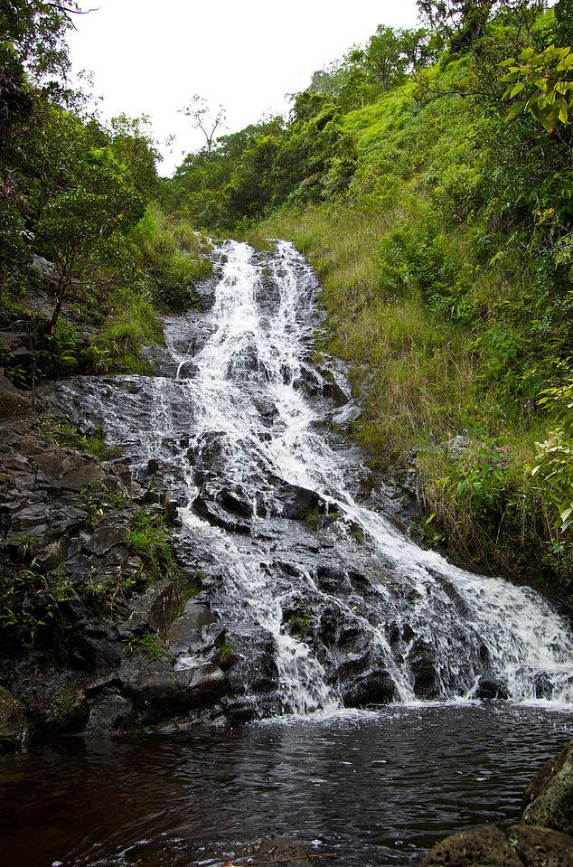 """The third of the Ka'au falls is the largest, flowing down a series of """"steps."""" The trail winds it's way up along the falls and even out across the falls, in order to reach the summit."""