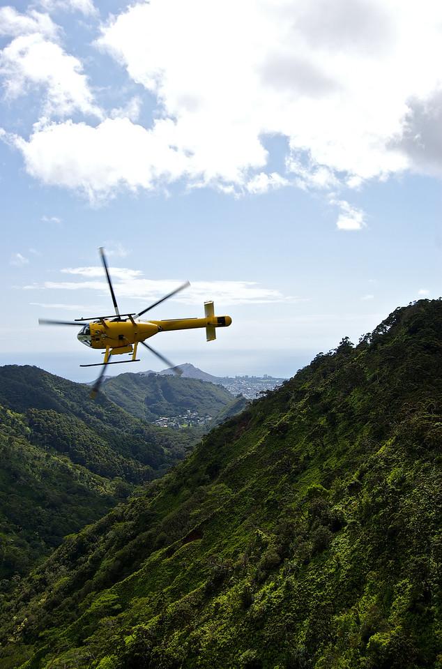 Rescue (?) Chopper Peeling Off, Death Defying