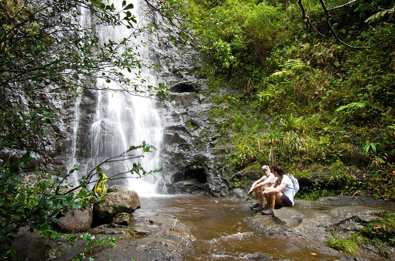 John Melton and Fiance Jenni  Base of Ka'au Waterfall No. 2