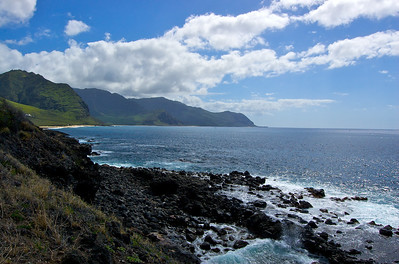 Looking South - That patch of Sand to the left is actually the beach preceding the trail head - part of Keawa'ula Bay