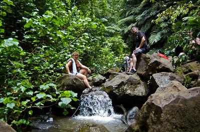 Maunawili Falls - My Parents Visit '10  The runoff from the base of the Maunawili Falls