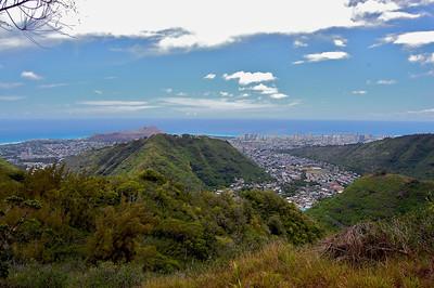 Mau'umae Ridge Hike - Overlooking Diamond Head Crater (left) and Waikiki (right)