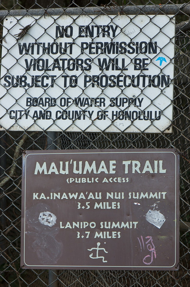 "So at first glance these two signs seem very conflicting- ""Hello, welcome.. stay the hell off this property."" The trail skirts the edge of a Water Supply facility, at it's beginning. Just poor sign placement."
