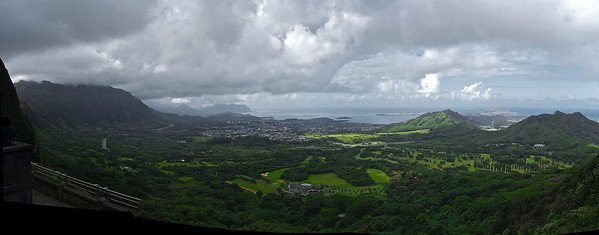 In 1795 King Kamehameha and 10,000 warriors drove the armies of O'ahu over these steep, forested cliffs, uniting the Hawai'ian Islands under his rule.  The Look Out: a panoramic view of the windward (NE) coast of Oʻahu; including Kaneohe Bay, Chinaman's Hat, and Hawaii Pacific's Windward Campus.