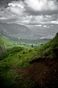 Standing on the Edge of the Storm - The Pali Look Out, Above