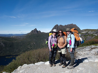 At last we reached Marion's Lookout. Jean, Zoe and Alison with Cradle Mountain in the background.