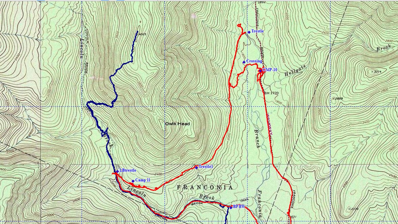 The blue line is GPS track from a trip to Owls Head taken in February 2012.  I include it here to better show the established trails to Owls Head.  Although we took the Brutus BW to ascend the peak.  We misjudged where to cross the Franconia Branch.  We crossed too early .  We figured the RR crossing would be close by Camp 10.  The actual location of the crossing is perhaps 1/3-1/2 mile further to north.  I'm not so sure switchbacks were employed.  The slight jog in Franconia Brook trail appears to indicate Henry may have used an ox bow curve to make the crossing.  Now we need to go back to verify.