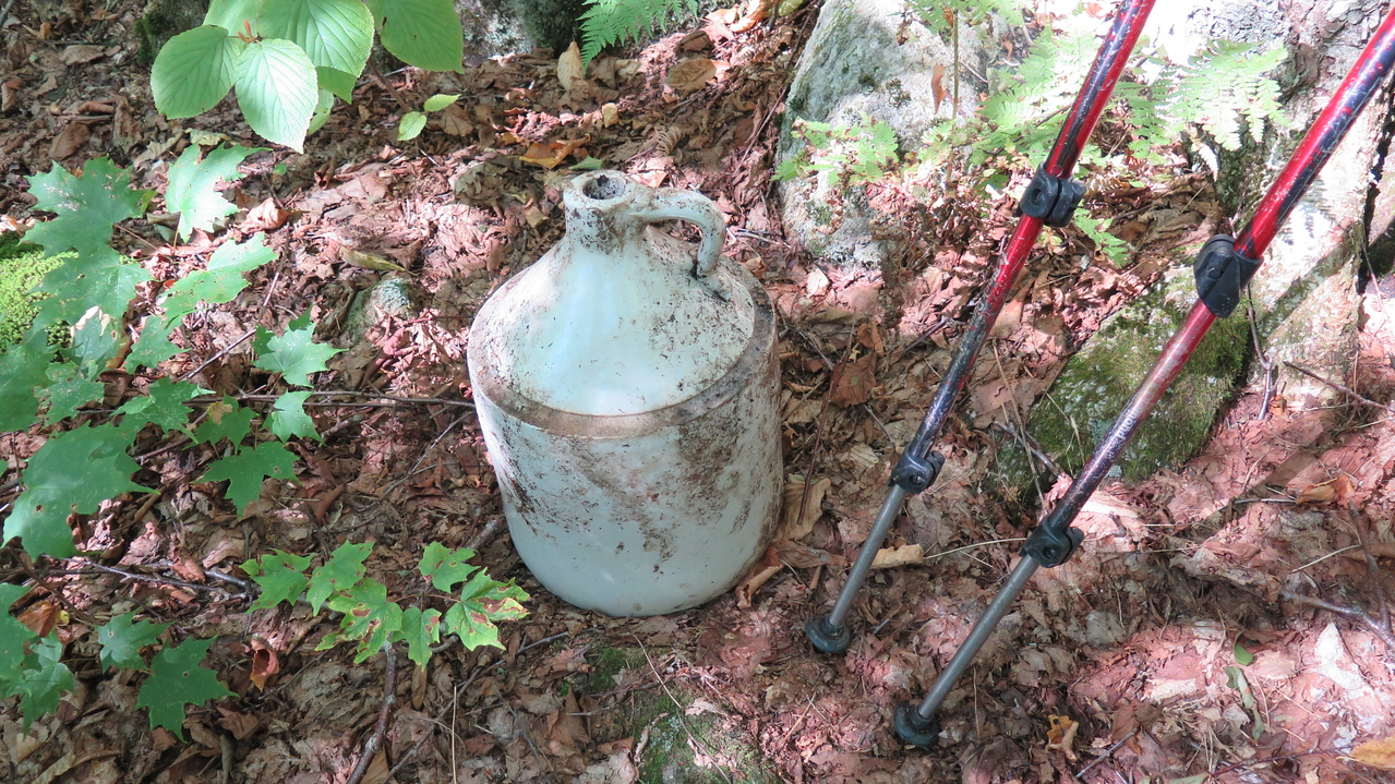I found a bit of ceramic poking up out of leaf litter which I unearthed to find this ceramic jug in perfect condition.  it looks to be 1.5 to 2 gallons.  This was in the area around Camp 10