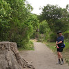 Stump plus trail turned out better with David in the photo. Maybe he should hire himself out as a model. He had a good time posing in many of Karin's photos.
