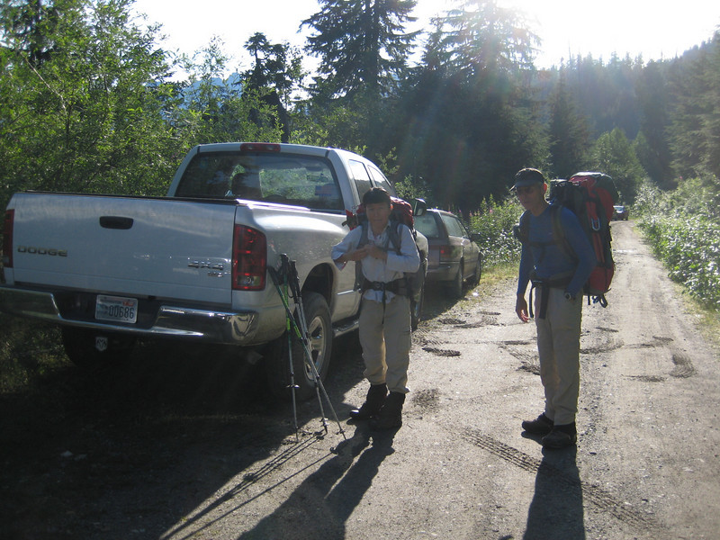 Trailhead can't be reached due to a mudslide blocking the forest road about 1.5 miles before the TH.<br /> Siew Moi and Norm next to my truck, ready to get going.
