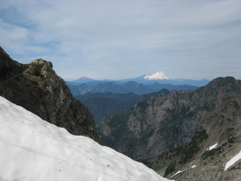 Look back to Mt Baker, now traversed 2 snow fields since TCG