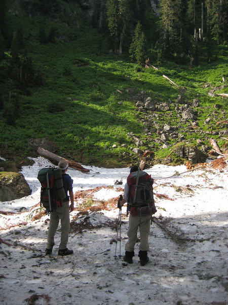 about halfway to Saddle Lake: crossing the debris field of a avalanche