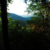 first and only good view of distant mountains from Roundtop Trail