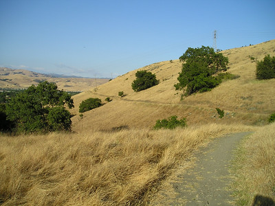 The trail runs on ahead of us around the hillsides covered with grass dried for the summer.
