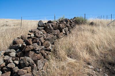 An old stone wall runs across the park.