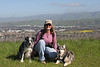 Boost, Ellen, Tika on Vista Loop overlooking San Jose.
