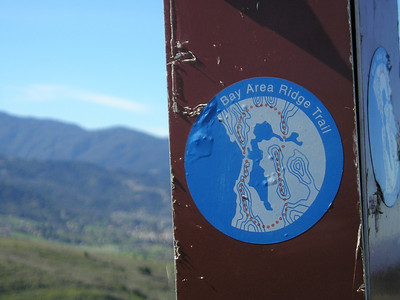 We're on a section of the Bay Area Ridge Trail, an ambitious project that will circle the San Francisco Bay atop the surrounding hills and mountains. Eventually, the loop will cover over 550 miles. Today, fewer than 400 of those miles have been completed. (http://en.wikipedia.org/wiki/Bay_Area_Ridge_Trail)