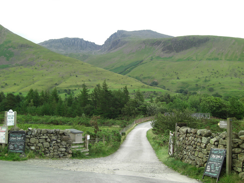 Start of the path at Wasdale Head.  Scafell Pike is the less impressive peak on the left, with the slightly lower Scafell on the right