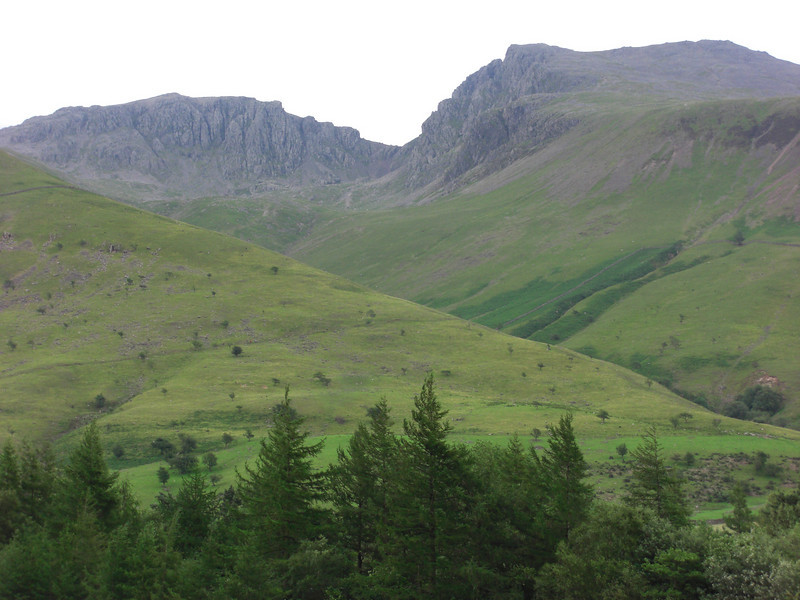 Approaching the mountains. Scafell Pike still looks the less impressive of the two.
