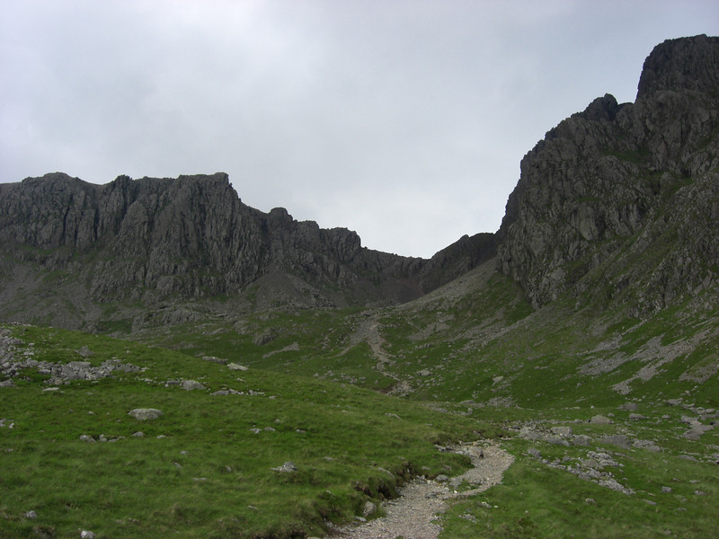 The view from soon after the path forks.  One path leads up to Lingmell Col, the other - the one I chose - up to Mickledore