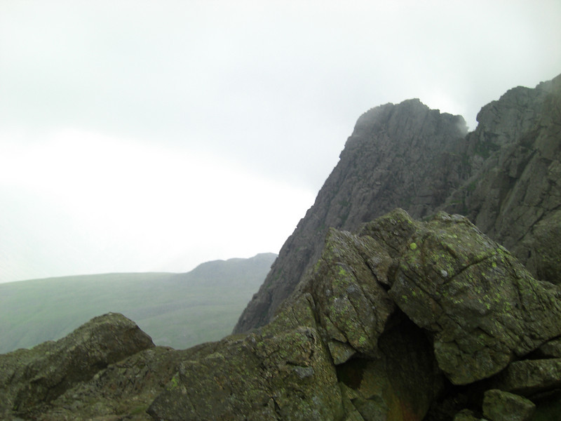 Crags on Scafell Pike from Mickledore.  It was about here that it began to rain in earnest and I wished I had brought gloves and overtrousers...