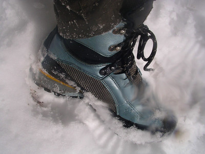 I'm doing okay in all the snow because I brought my super new La Sportiva boots that I picked up used at REI.  They WORK! My feet are warm and dry.  I can't help but rave about them all weekend much to the chagrin of Scott and Doc.