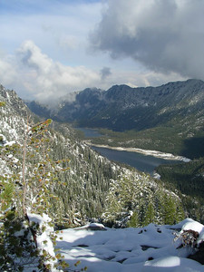 View looking down to Snow Lakes.