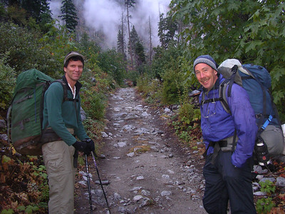 Scott and Doc at the start of the trail with big packs.  It is about 7:30 or so, and cool out, but we still have some sun.