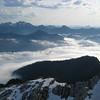 Good morning, Three Fingers Mtn!<br /> Pilchuck bathes in the gentle morning sun while the lowlands are under a fog blanket
