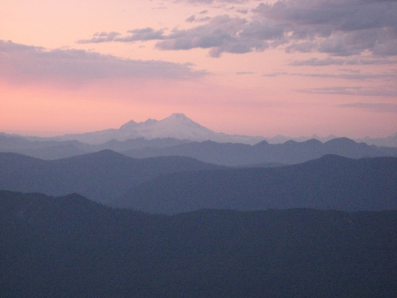 close up of Mt Baker, with the typical rows of Cascades foothills