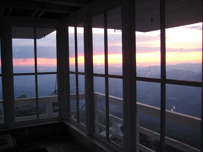 sunset from within the lookout