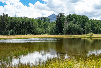 Hesperus Mountain in distance over pond