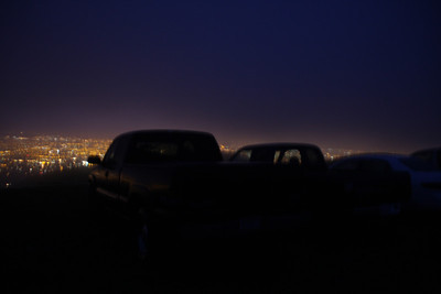About a dozen cars lined up in the normally off-limits parking area off Sierra Road, in the rain, waiting for sunrise.