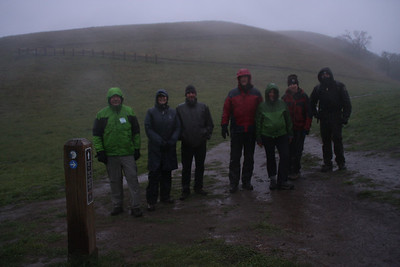 Hikers ready to continue onto the Sierra Vista trail. In the rain.