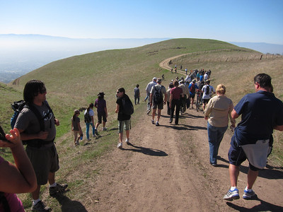 Everyone heads down the hill towards the ribbon cutting ceremony.