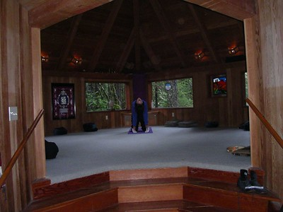 Julie does some yoga moves ~ gorgeous little cabin.