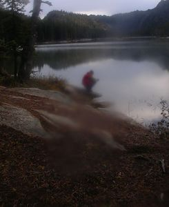 Dad pumping water at lower Snow Lake (much prettier than Upper Snow Lake).