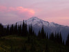 Sunset and Glacier Peak from camp near Image Lake on Miners Ridge.