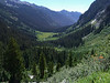 Day two and on our way up the green cliff wall. This view looks back down at Spider Meadows.