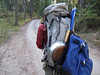 VIDEO - Ken carries a backpack attached to a backpack.  3 bottles of wine, some tequila and whiskey.  Will we do any hiking?