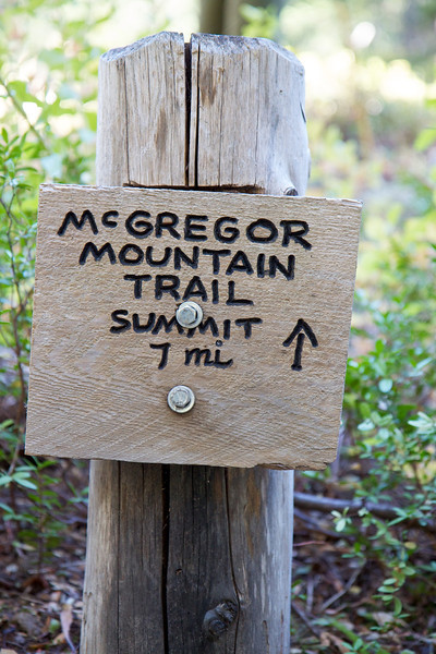 McGregor Peak.  This sign is after we already hiked 1.5 miles.  So its actually about 17 miles round trip, with a gain of about 6,300 ft.  We did not do the last 800 feet due to time constraints (i.e. we had margaritas waiting for us at camp.)
