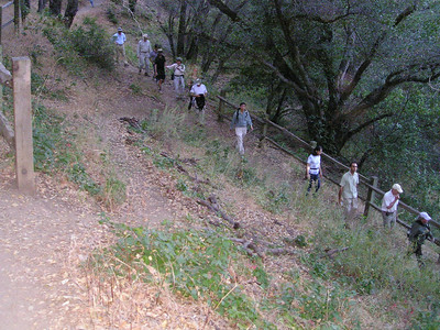 The group navigates a switchback.