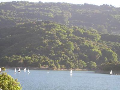 Sailboats on Stevens Creek Reservoir.