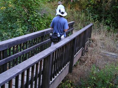 William crossing the bridge.