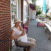 Gely enjoying a well-deserved icecream in West Nyack after the canoe trip.