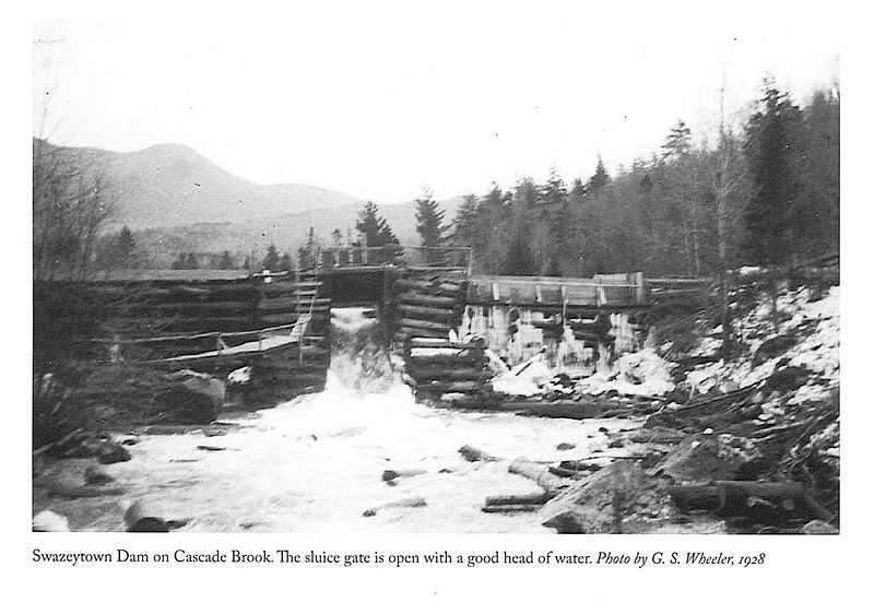 This old photo is from Gove's book Logging Railroads of Pemigiwasett River Valley.  Caption indicates it was taken in 1928.  Top level of the dam is almost even with the level of the stream terrace.  The bike trail (former logging road) passes by on the right.